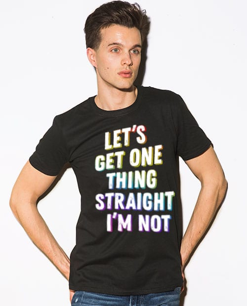 This is the main model photo for the Pride Shirts: Not Straight