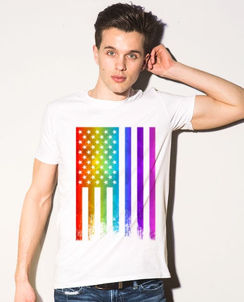 This is the main model photo for the Pride Shirts: Pride Flag Distressed
