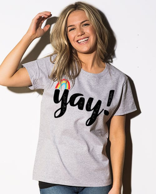 This is the main model photo for the Pride Shirts: Yay Gay Rainbow