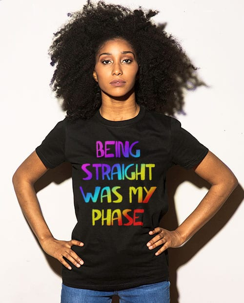 This is the main model photo for the Pride Shirts: Straight Was My Phase