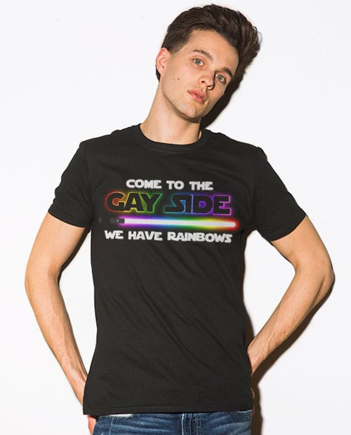 This is the main model photo for the Pride Shirts: Dark Side Gay Pride