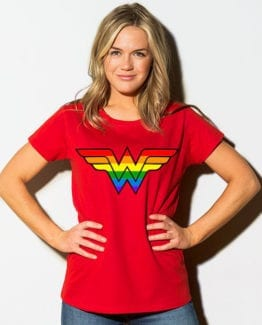 This is the main model photo for the Pride Shirts: Wonder Woman Pride