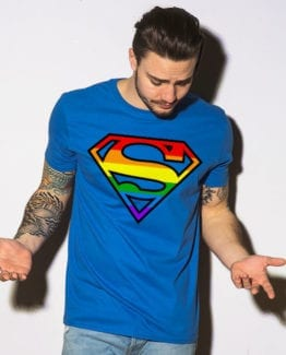 This is the main model photo for the Pride Shirts: Superman Pride
