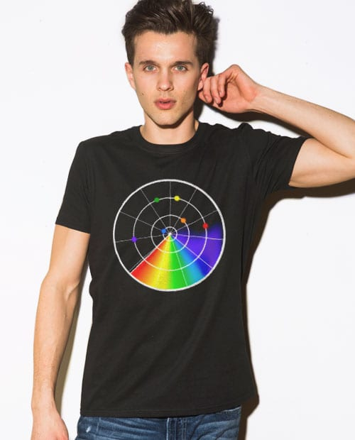 This is the main model photo for the Pride Shirts: Gaydar