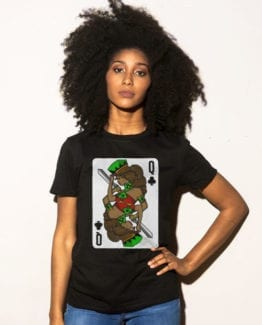 This is the main model photo for the Queen Playing Cards: Queen of Clubs