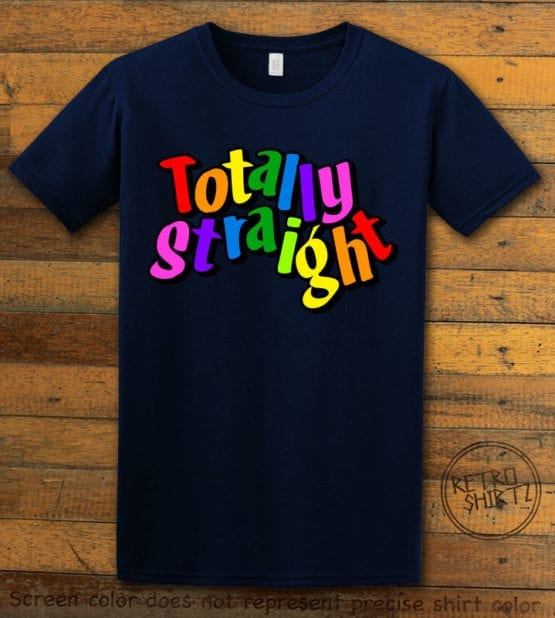 This is the main graphic design on a navy shirt for the Pride Shirts: Totally Straight