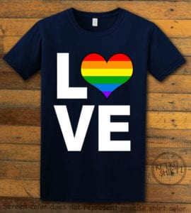 This is the main graphic design on a navy shirt for the Pride Shirts: Love Heart Rainbow