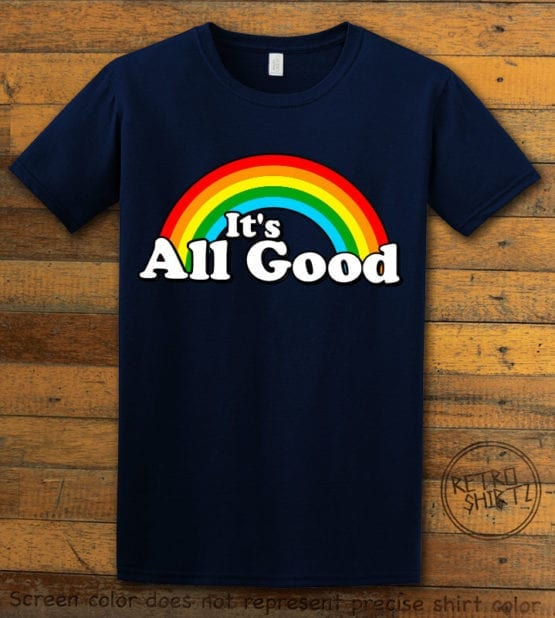 This is the main graphic design on a navy shirt for the Pride Shirts: Good Rainbow