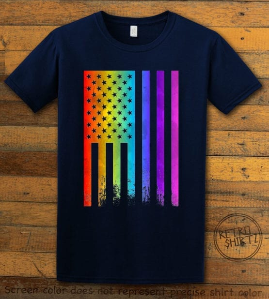 This is the main graphic design on a navy shirt for the Pride Shirts: Pride Flag Distressed