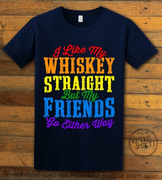 This is the main graphic design on a navy shirt for the Pride Shirts: Whiskey Gay Pride