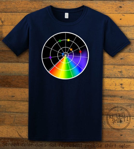 This is the main graphic design on a navy shirt for the Pride Shirts: Gaydar