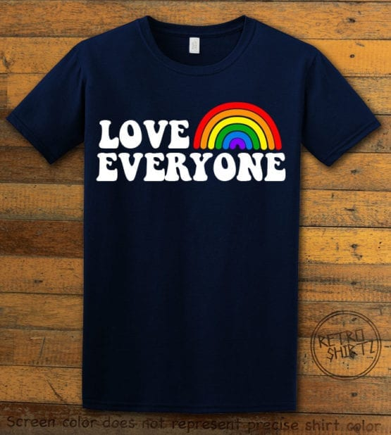 This is the main graphic design on a navy shirt for the Pride Shirts: Love Everyone