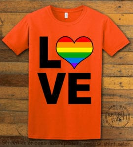 This is the main graphic design on a orange shirt for the Pride Shirts: Love Heart Rainbow