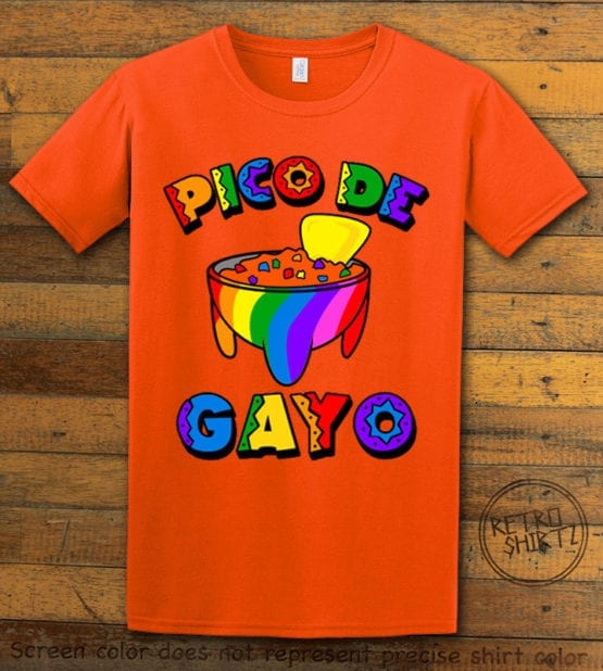This is the main graphic design on a orange shirt for the Pride Shirts: Pico de Gayo