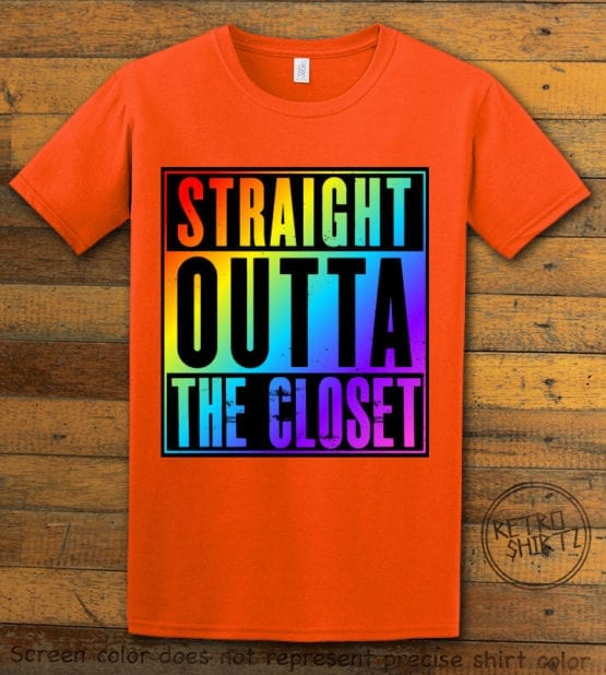 This is the main graphic design on a orange shirt for the Pride Shirts: Straight Out of the Closet