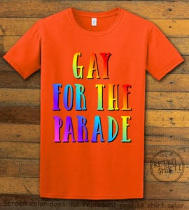 This is the main graphic design on a orange shirt for the Pride Shirts: Pride Parade