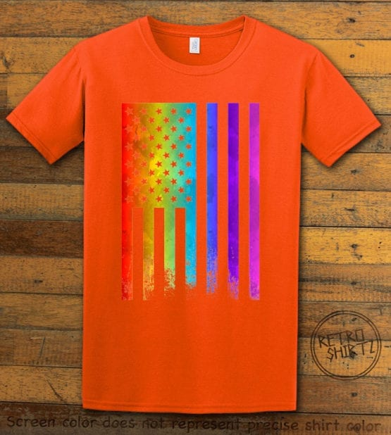 This is the main graphic design on a orange shirt for the Pride Shirts: Pride Flag Distressed