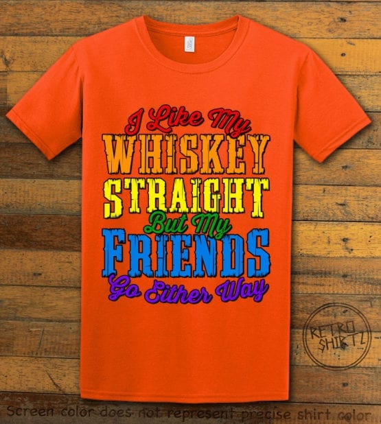 This is the main graphic design on a orange shirt for the Pride Shirts: Whiskey Gay Pride