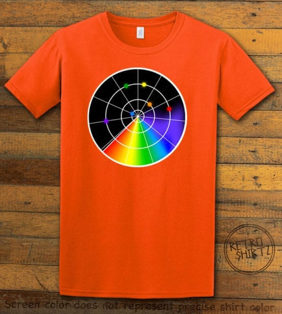 This is the main graphic design on a orange shirt for the Pride Shirts: Gaydar