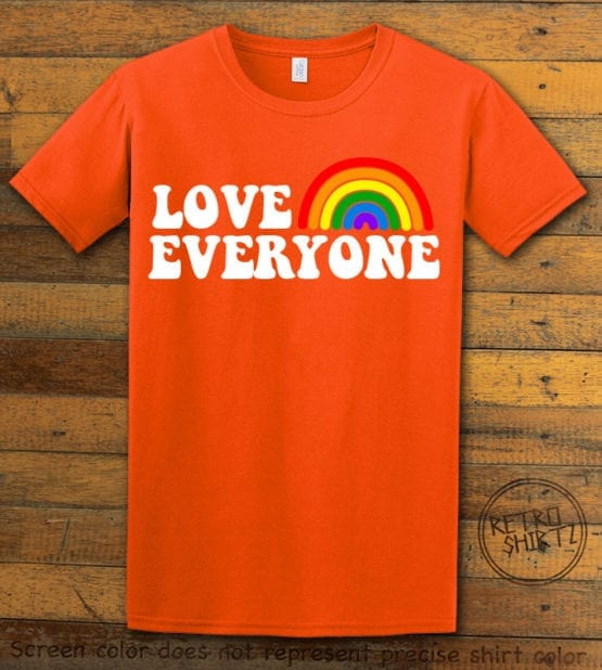 This is the main graphic design on a orange shirt for the Pride Shirts: Love Everyone