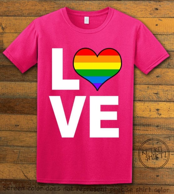 This is the main graphic design on a pink shirt for the Pride Shirts: Love Heart Rainbow