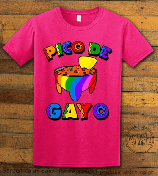 This is the main graphic design on a pink shirt for the Pride Shirts: Pico de Gayo