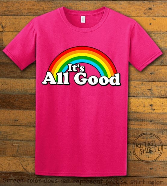This is the main graphic design on a pink shirt for the Pride Shirts: Good Rainbow