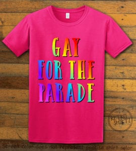This is the main graphic design on a pink shirt for the Pride Shirts: Pride Parade