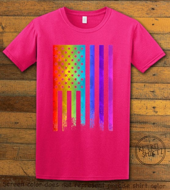 This is the main graphic design on a pink shirt for the Pride Shirts: Pride Flag Distressed
