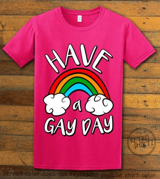 This is the main graphic design on a pink shirt for the Pride Shirts: Have a Gay Day