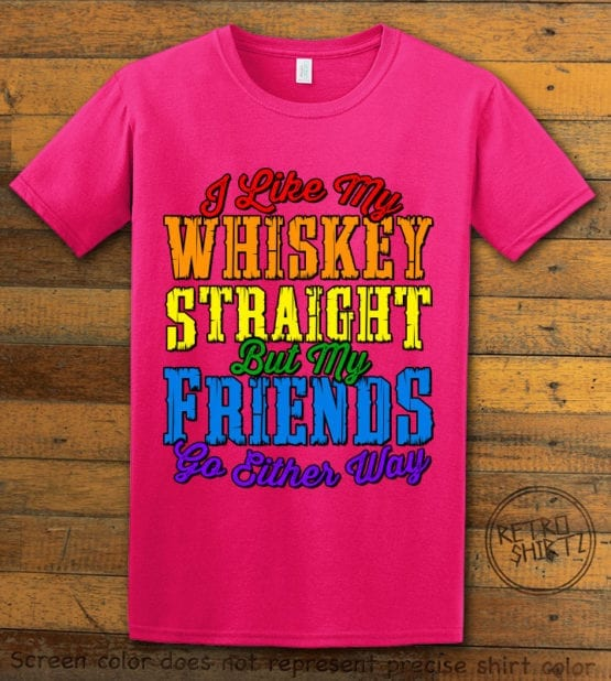 This is the main graphic design on a pink shirt for the Pride Shirts: Whiskey Gay Pride