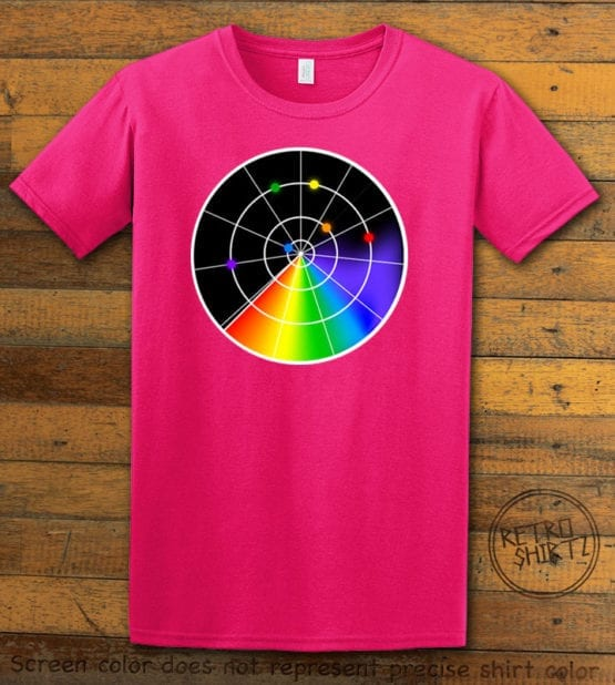 This is the main graphic design on a pink shirt for the Pride Shirts: Gaydar