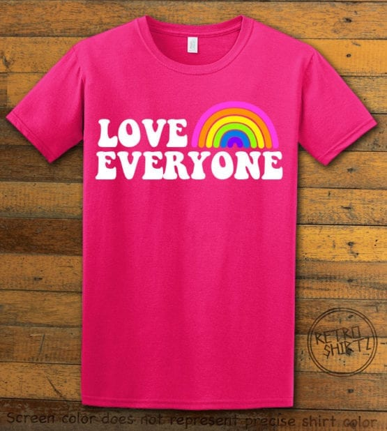 This is the main graphic design on a pink shirt for the Pride Shirts: Love Everyone