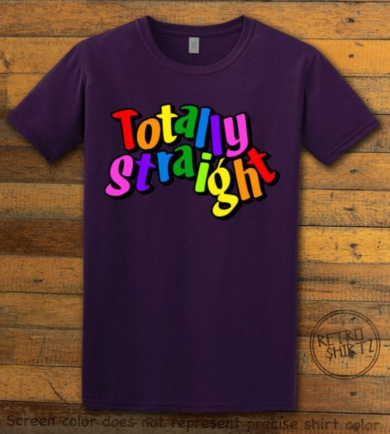 This is the main graphic design on a purple shirt for the Pride Shirts: Totally Straight