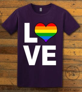 This is the main graphic design on a purple shirt for the Pride Shirts: Love Heart Rainbow