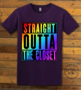 This is the main graphic design on a purple shirt for the Pride Shirts: Straight Out of the Closet