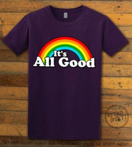 This is the main graphic design on a purple shirt for the Pride Shirts: Good Rainbow