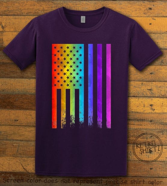 This is the main graphic design on a purple shirt for the Pride Shirts: Pride Flag Distressed