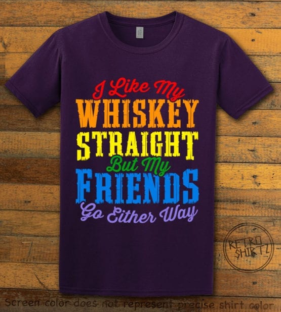 This is the main graphic design on a purple shirt for the Pride Shirts: Whiskey Gay Pride