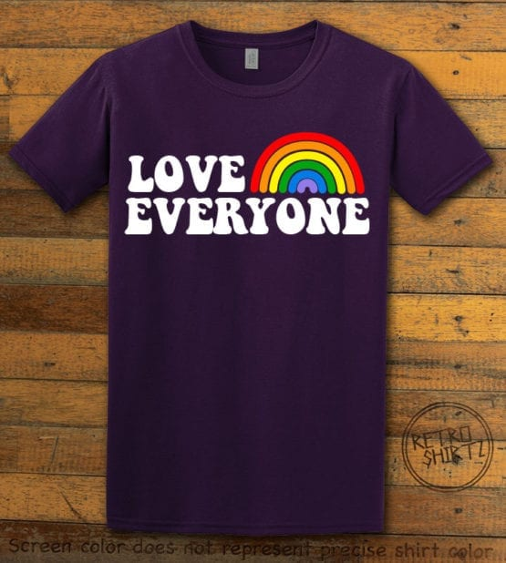 This is the main graphic design on a purple shirt for the Pride Shirts: Love Everyone