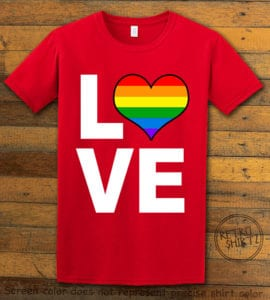 This is the main graphic design on a red shirt for the Pride Shirts: Love Heart Rainbow