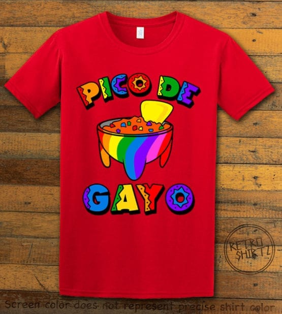 This is the main graphic design on a red shirt for the Pride Shirts: Pico de Gayo