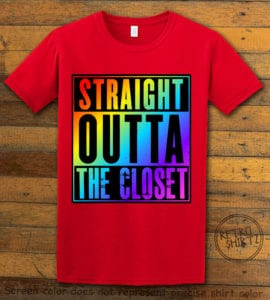 This is the main graphic design on a red shirt for the Pride Shirts: Straight Out of the Closet