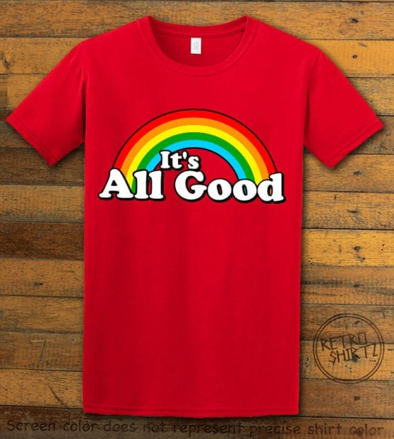 This is the main graphic design on a red shirt for the Pride Shirts: Good Rainbow