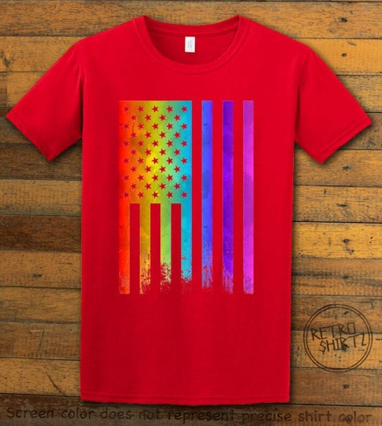 This is the main graphic design on a red shirt for the Pride Shirts: Pride Flag Distressed