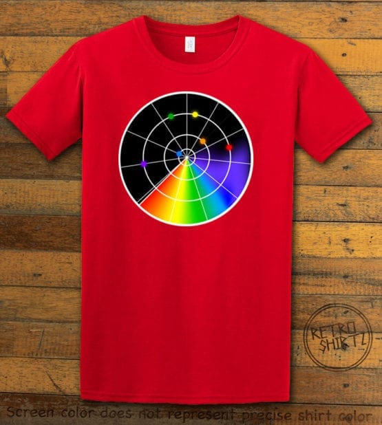 This is the main graphic design on a red shirt for the Pride Shirts: Gaydar
