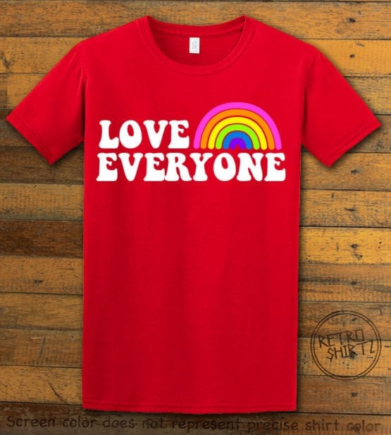 This is the main graphic design on a red shirt for the Pride Shirts: Love Everyone