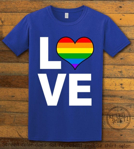This is the main graphic design on a royal shirt for the Pride Shirts: Love Heart Rainbow