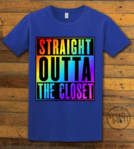 This is the main graphic design on a royal shirt for the Pride Shirts: Straight Out of the Closet