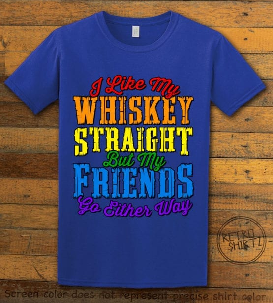 This is the main graphic design on a royal shirt for the Pride Shirts: Whiskey Gay Pride